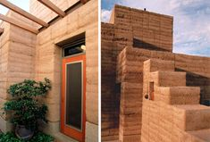 While rammed earth fell out of vogue for a while during the 20th century, it's experiencing a resurgence as a green building material since it's natural, low-cost and provides good thermal mass. It's also fireproof, soundproof and avoids the dilemma of deforestation and toxic materials. These photos show a modern rammed earth home made by architect Paul Weine