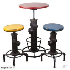 Industrial style 'bar table+ bar stools' - a no-nonsense attitude and is so utterly utilitarian, it becomes the perfect example of form following function. Buy Now:  $551.00