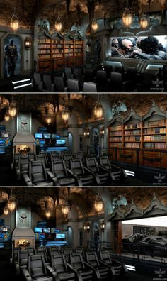 """Dark Knight Themed Home Theater What does it mean when someone is """"stupid rich""""? This is a Dark Knight themed home theater that was built to the tune of two million dollars. Movie Theater Rooms, Home Cinema Room, Home Theater Seating, Home Theater Design, Luxury Movie Theater, Dream Theater, Video Game Rooms, Game Room Design, Home Movies"""