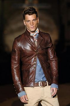 Brownish Oxblood Leather jacket, Chambray Shirt, Scarf, Worn in Jeans, and Boots, by dsquared2, 2006. Men's Fall Winter Fashion.