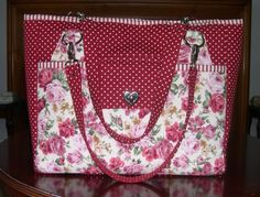 Beautiful Winter Red Stow-it-All Bag by Karen at Sew-Whats-New.com