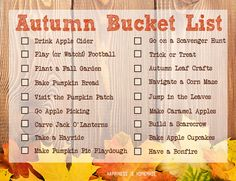 Printable fall bucket list and links to lots of great autumn kids craft and fun family activities that will keep you busy all season long!