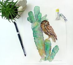 Original Painting 11x15: Little Owl | Etsy Watercolor Paper, Watercolor Paintings, Original Paintings, Little Owl, Enjoying The Sun, New Print, Blue Bird, Hanging Out, Cherry Blossom
