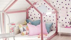 Kids Room: Pink Shaped House Beds With Polkadot Wallpaper - 20 Cozy House Beds Frame For Your Kids' Rooms House Beds For Kids, Kid Beds, Baby Bedroom, Girls Bedroom, Room Girls, Master Bedrooms, Girl Nursery, Creative Kids Rooms, Dressing Room Design
