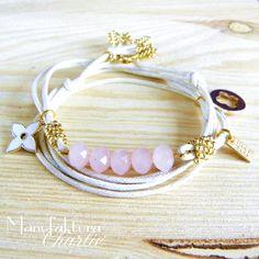 Minimalistic bracelet with pink glass beads