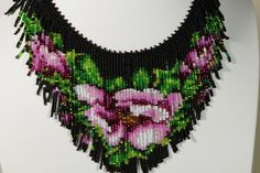 tea rose beadwork necklace beadweaving fringe necklace seed bead choker…