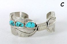 Native American Navajo Allen Barney Turquoise Sterling Silver Feather Earrings