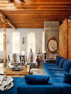 gorgeous blue velvet sofa