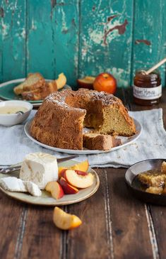 easy and delicious olive oil chiffon cake served with fresh ricotta and peaches