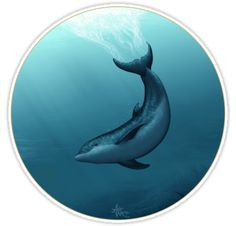 """Stickers ••• """"Siren of the Blue Lagoon"""" Dolphin Art by Amber Marine • (Printed on a square sheet with various size options, up to 14""""x14""""!) ••• AmberMarineArt.com •••"""