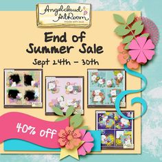 Angelclaud ArtRoom is having an End of Summer Sale at Gotta Pixel!  Her whole store is at 40% off through Sep 30th.  Don't miss the chance to grab some templates to help scrap all your Summer fun photo's! Store; http://www.gottapixel.net/store/manufacturers.php?manufacturerid=196. 09/25/2014
