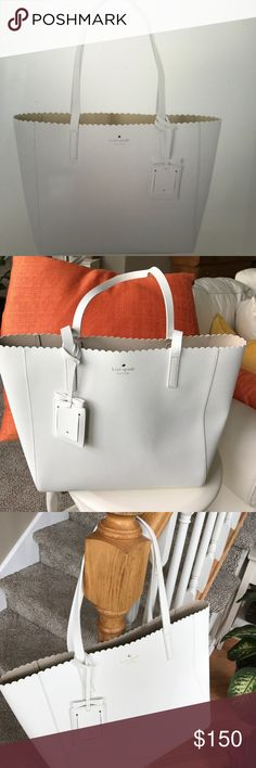 """Kate spade white Hallie cape drive tote From the cape drive collection. The hallie tote is crosshatched leather with scalloped trim and porcelain interior. Attached mirror. Used minimally   Measures 11.7"""" x 12.5"""" x 5.5. kate spade Bags Totes"""