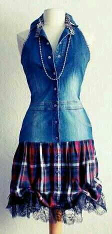 Redesigned denim shirt, plaid shirt, and a little tulle with lace.