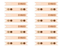 Free Milk and Cookies Party Printable straw flags. See more free printables at CatchMyParty.com.