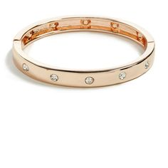 GUESS Zoey Rose Gold-Tone Bracelet ($20) ❤ liked on Polyvore featuring jewelry, bracelets, hinged bracelet, guess jewellery, hinged bangle, rhinestone jewelry and sparkle jewelry