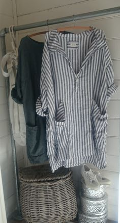 Navy and White Striped Linen Dress MegbyDesign. Great with leggings.
