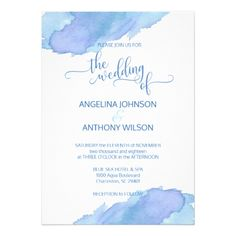 Watercolor Blue Teal Aqua Wedding Invitations - invitations personalize custom special event invitation idea style party card cards