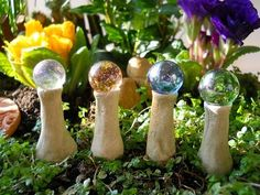 I will make these for the faery garden. Soda clay and marbles.