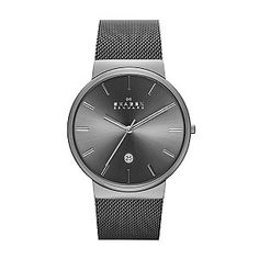 Embrace minimalist Danish design, with this sleek grey stainless steel mesh bracelet watch by Skagen, featuring a deep grey sunray dial with simple silver tone baton markers and date window at 6 o'clock. Perfect for everyday elegance.