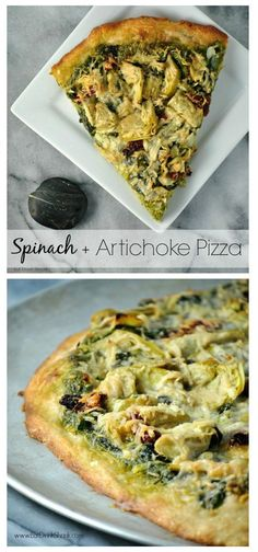 Vegan Spinach and Artichoke Pizza with homemade spinach pesto!