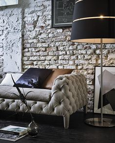 Sofa   Vintage Meets Classic, Also Love The Lamp U0026 Exposed Brick