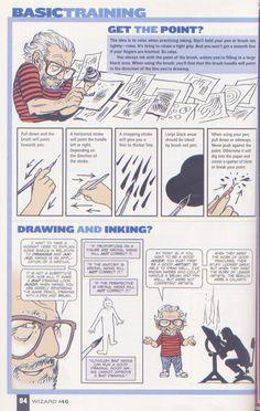 Scan from Wizard Magazine 146. Basic Training: Part 4 of 6 Joe Kubert shows how to ink. p94