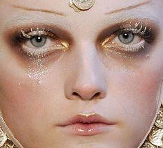 Snow Goddess fantasy makeup.