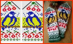 Knitted Mittens Pattern, Knitting Paterns, Fair Isle Knitting Patterns, Knit Mittens, Knitting Charts, Easy Knitting, Loom Knitting, Knitting Stitches, Knitting Socks