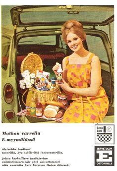 E-Myymälän kesäkori-mainos/1966 Old Commercials, Old Ads, Peanuts Snoopy, Old Pictures, Vintage Advertisements, Volvo, Finland, Vintage Posters, Retro Vintage