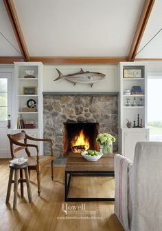 Nice update to old stone fireplace. They flanked the fireplace on either side with bookcases to add much needed storage and display space. Cottage Inspiration, Home, Cottage Living, Beach Cottage Style, Home Additions, Beachfront Cottage, Cottage Decor, Seaside Cottage, Cottage Renovation