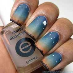 I like this >> Addicted to Polish: Let's Go Camping - Under the Stars Nail Art