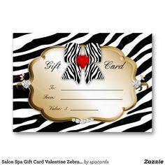 Salon Spa Gift Card Valentine Zebra Gold Black 2 Business Card