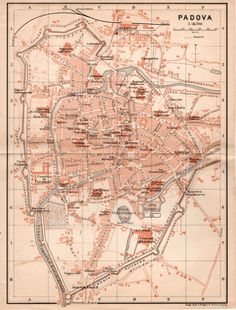 1903 Map of Padua Padova Map Antique Map Vintage by Craftissimo