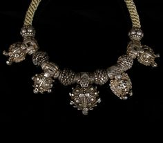 East India | Silver necklace from Orissa | 19th century beads with contemporary crown knotting | Sold