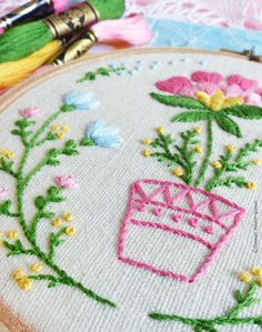 Hand embroidery kit embroidery hoop art wall art flowerpot diy hand embroidery kit embroidery hoop art wall art flowerpot diy kit broderie hoop art tamar nahir modern hand embroidery solutioingenieria Images
