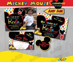 Mickey Mouse Clubhouse birthday Invitation, Mickey Mouse Birthday invitation, Mickey Mouse Party Invite, First Mickey Mouse birthday, Mickey by ItsAllAboutKidz on Etsy