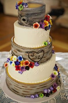 Rustic Wedding Cake Initials Carved Into A Tree I Love This With The Carving But Think Want Sunflowers On My Instead These