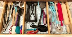 Bamboo drawer dividers make it so easy to keep your large kitchen drawers organized! Having a organized utensil drawer has never been easier! Bathroom Drawer Organization, Small Bedroom Organization, Bedroom Storage, Organization Ideas, Clutter Organization, Camping Organization, House Cleaning Tips, Cleaning Hacks, Homemade Shower Cleaner