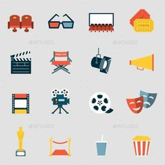 Buy Cinema Icons Flat by New_Vector on GraphicRiver. Making film and watch movie in the cinema icons collection Flat Design Icons, Icon Design, Flat Icons, Cinema Movies, Iconic Movies, Film Icon, Icon Icon, Film Watch, Camera Icon