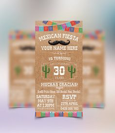 Mexican Fiesta Invitations by ConceptPartyPrints on Etsy