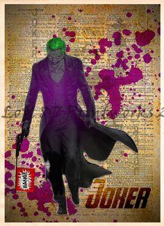 The Joker art print, SuperHero pop art, Retro Super Hero Art, Dictionary print art