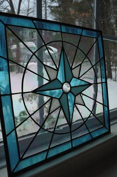 I love stained glass! Stained Glass Compass Rose Panel by AmyZalinskyDesigns on Etsy, $175.00