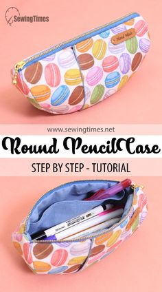 Zipper Pencil Case, Diy Pencil Case, Pencil Pouch, Zipper Pouch, Pencil Cases, Tutorial Sewing, Sewing Tutorials, Sewing Projects, Bag Patterns To Sew