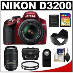 Nikon D3200 Digital SLR Camera & 18-55mm G VR DX AF-S Zoom Lens (Red) with 55-300mm VR Lens + 16GB Card + Case + Filters + Remote + Accessory Kit by Nikon. $864.95. Kit includes:♦ 1) Nikon D3200 Digital SLR Camera & 18-55mm G VR DX AF-S Zoom Lens (Red)♦ 2) Nikon 55-300mm f/4.5-5.6G VR DX AF-S ED Zoom-Nikkor Lens   ♦ 3) Transcend 16GB SecureDigital Class 10 (SDHC) Card   ♦ 4) Nikon Deluxe Digital SLR Camera Case   ♦ 5) Vivitar ML-L3 Wireless Shutter Relea...