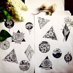 Image result for black and white flower tattoos without shading