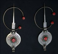 Morocco | Pair of Fibula from Tiznit | Silver, yellow and green enamel, coral | Est. 250-350€ (Feb '13)