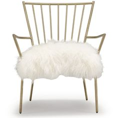 Mitchell Gold + Bob Williams Ansel Chair Brass - Tibetan Fur (2,695 CAD) ❤ liked on Polyvore featuring home, furniture, chairs, accent chairs, casa, seating, fur chair, brass furniture, white furniture and white chair