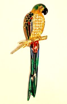 Large Colourful 1980s Vintage Parrot Brooch