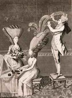Engraving of hairdressing in the 1700's