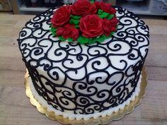 I'd like to make a similar cake, Anniversary perhaps Cake Piping, Buttercream Cake, Cupcakes, Cupcake Cakes, Beautiful Birthday Cakes, Doughnut Cake, Valentine Cake, Cake & Co, Cake Business